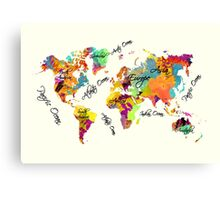 world map text color Canvas Print
