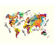 world map text color Photographic Print