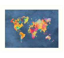 blue world map Art Print
