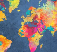 blue world map Sticker