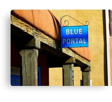 A Portal Lover Finds a Blue One in Old Town Albuquerque Canvas Print