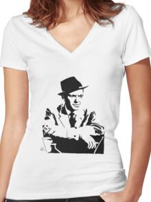Frank Sinatra silhouette Women's Fitted V-Neck T-Shirt