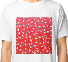 Cute and Colorful Rainbow Pattern on Red Classic T-Shirt