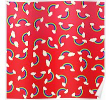 Cute and Colorful Rainbow Pattern on Red Poster