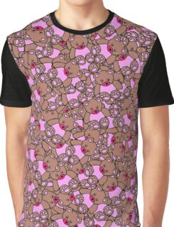 Cute Adorable Pink Brown Black Teddy Bear Collage Graphic T-Shirt