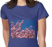 Pink Blossoms and Blue Sky Womens Fitted T-Shirt