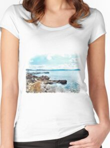 Island La Maddalena: sea landscape Women's Fitted Scoop T-Shirt