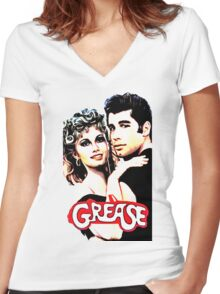 grease Women's Fitted V-Neck T-Shirt