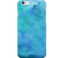 Blue Aqua Teal Turquoise  Watercolor Paper Background  iPhone Case/Skin