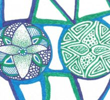 Aqua Circle Pattern Zentangle  Sticker