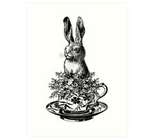 Rabbit in a Teacup   Black and White Art Print