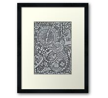 Steampunk Clocks & Compass Zendoodle Framed Print