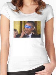 Obama walks into Supreme Newyork Women's Fitted Scoop T-Shirt
