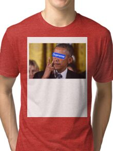 Obama walks into Supreme Newyork Tri-blend T-Shirt