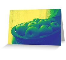 Apples In Yellow Blue And Green Greeting Card