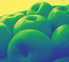 Apples In Yellow Blue And Green Sticker