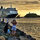 Queen Elizabeth II Cruise Ship - Newcastle Harbour NSW by Phil Woodman