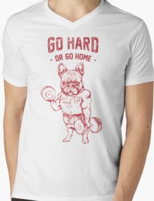 Pug go hard Mens V-Neck T-Shirt