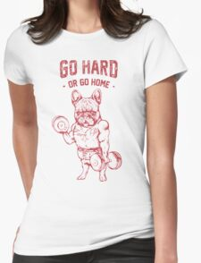 Pug go hard Womens Fitted T-Shirt