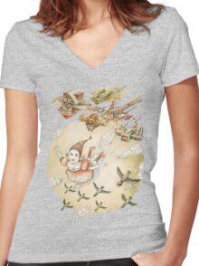 kite girl fly Women's Fitted V-Neck T-Shirt