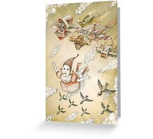 kite girl fly Greeting Card