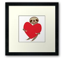 sloth with red heart Framed Print