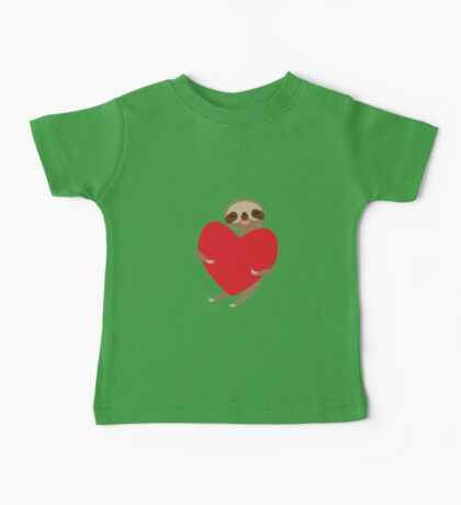 sloth with red heart Baby Tee