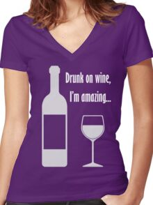 Drunk on wine, I'm amazing... Barenaked Ladies lyric - light text Women's Fitted V-Neck T-Shirt