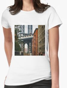 Manhattan Bridge and Empire State Womens Fitted T-Shirt
