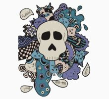 Skull Doodle (Variation #2; Purple, Blue, Cream)  Kids Tee