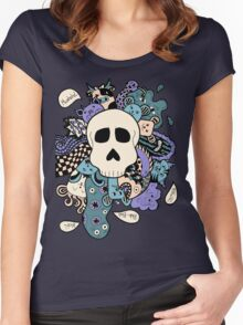 Skull Doodle (Variation #2; Purple, Blue, Cream)  Women's Fitted Scoop T-Shirt