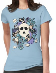 Skull Doodle (Variation #2; Purple, Blue, Cream)  Womens Fitted T-Shirt