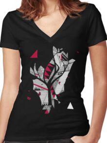red, black, white Women's Fitted V-Neck T-Shirt
