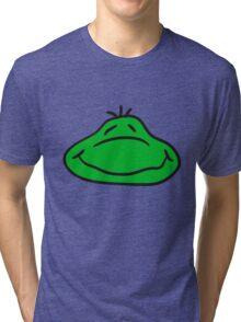 grin sweet cute face head happy cheerful little kid frog Tri-blend T-Shirt
