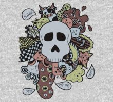 Skull Doodle (Variation #1; Blue, Brown, Green) One Piece - Short Sleeve