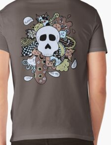 Skull Doodle (Variation #1; Blue, Brown, Green) Mens V-Neck T-Shirt