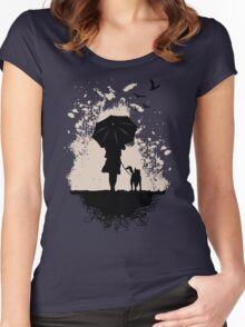 Girl Walking The Dog Funny Woman Tshirt Women's Fitted Scoop T-Shirt