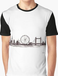 London skyline watercolor in black Graphic T-Shirt