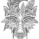 Boho wolf indian totem head by Andrei Verner