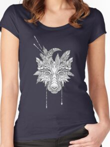 Boho wolf indian totem head Women's Fitted Scoop T-Shirt