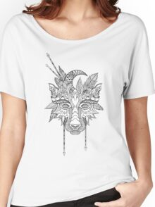 Boho wolf indian totem head Women's Relaxed Fit T-Shirt