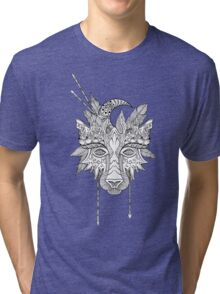 Boho wolf indian totem head Tri-blend T-Shirt