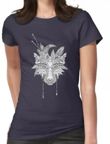 Boho wolf indian totem head Womens Fitted T-Shirt