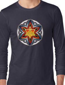 Merkaba, Flower Of Life, Metatrons Cube, Sacred Geometry Long Sleeve T-Shirt