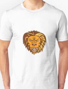 Angry Lion Big Cat Growling Head Retro T-Shirt