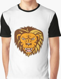 Angry Lion Big Cat Growling Head Retro Graphic T-Shirt
