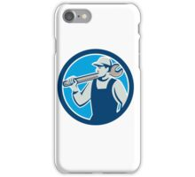 Mechanic Worker Holding Spanner Circle Retro iPhone Case/Skin