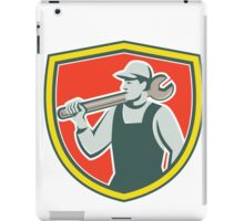 Mechanic Worker Holding Spanner Shield Retro iPad Case/Skin