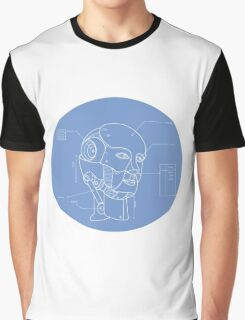 Robot Head Technical Drawing Graphic T-Shirt