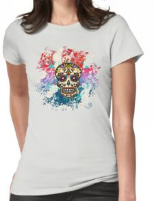 Mexican Sugar Skull, Day of the Dead, Dia de los muertos Womens Fitted T-Shirt